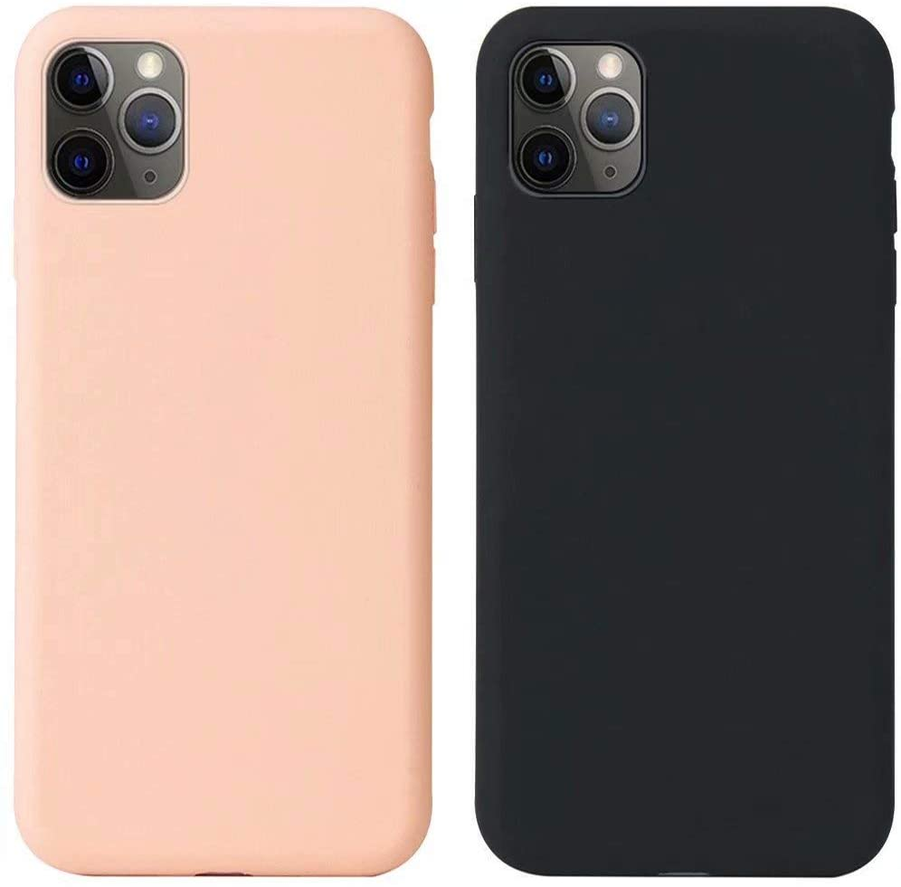 2 Pack Phone Case for iPhone X Case iPhone Xs Case Girls Liquid Silicone Case Slim Fit Cover with Soft Lining Cushion Protective Bumper Case for iPhone X/Xs (Pink,Black)