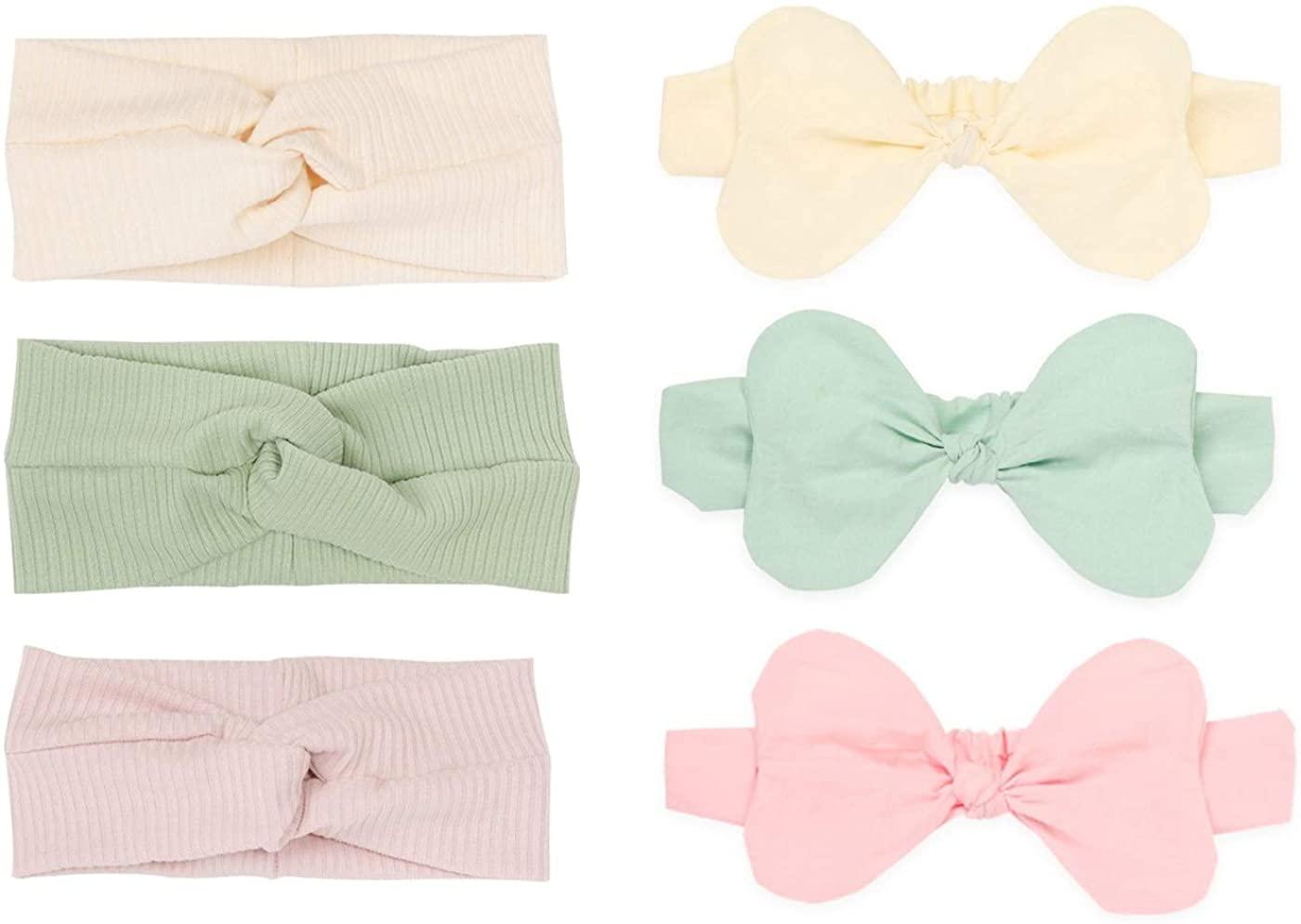 6Pcs All-cotton Baby Girls Headbands Set, 3Pcs Criss Cross Headbands and 3Pcs Big Bowknot Headbands for Newborns Infants Toddlers