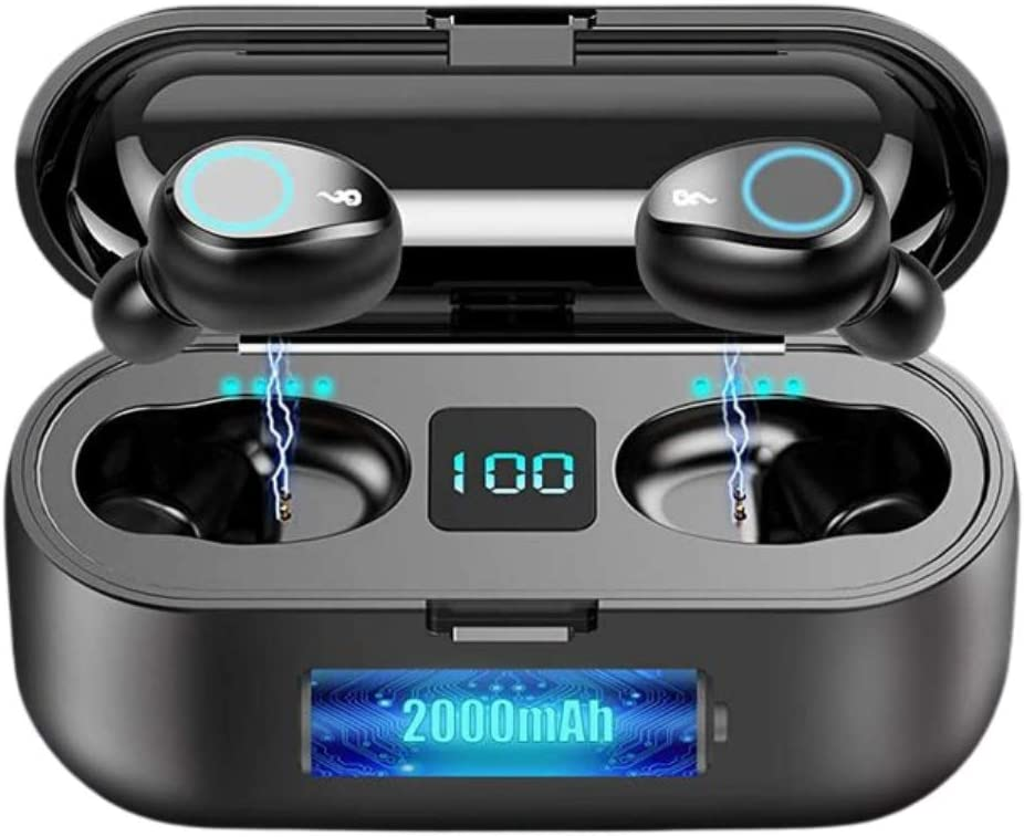 True Wireless Bluetooth 5.0 Invisible Earbuds LED Display Shows Charging, IPX7 Waterproof, Noise Cancelling with 2000 mah Power Bank, Touch Control, Charges Phone