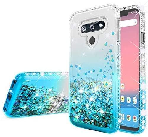 Galaxy Wireless Liquid Glitter Phone Case for LG K51/Reflect w[Tempered Glass Screen Protector] Bling Diamond Girls Women for LG K51 Case - Aqua/Clear