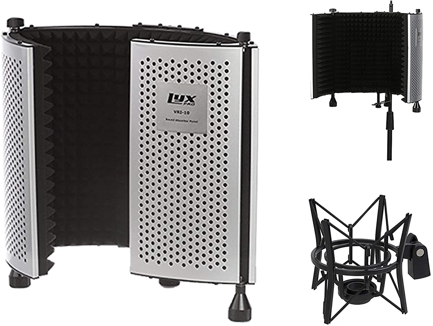 LyxPro Vocal Booth 10 Portable Acoustic Isolation Instrument Shield, Sound Absorbing, Reflection Panel with Condenser Anti Vibration Spider Microphone Shockmount Kit