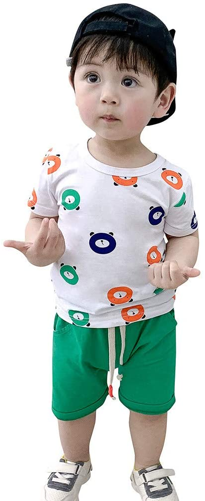 Outfits Clothes for 12-18 Months Boy and Girl, Newborn Infant Baby Girls Boys Short Sleeve Bear Print Tops T-Shirt+Short Outfit, Boys Outfits&Set (Green 12-18 Months)
