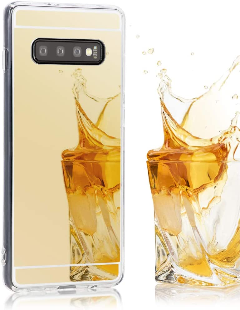 NALIA Mirror Case Compatible with Samsung Galaxy S10, Ultra-Thin Shiny Protective Selfie Silicone Cover, Slim Shockproof Gel Protector with Reflective Back, Smart-Phone Bumper Soft Skin, Color:Gold