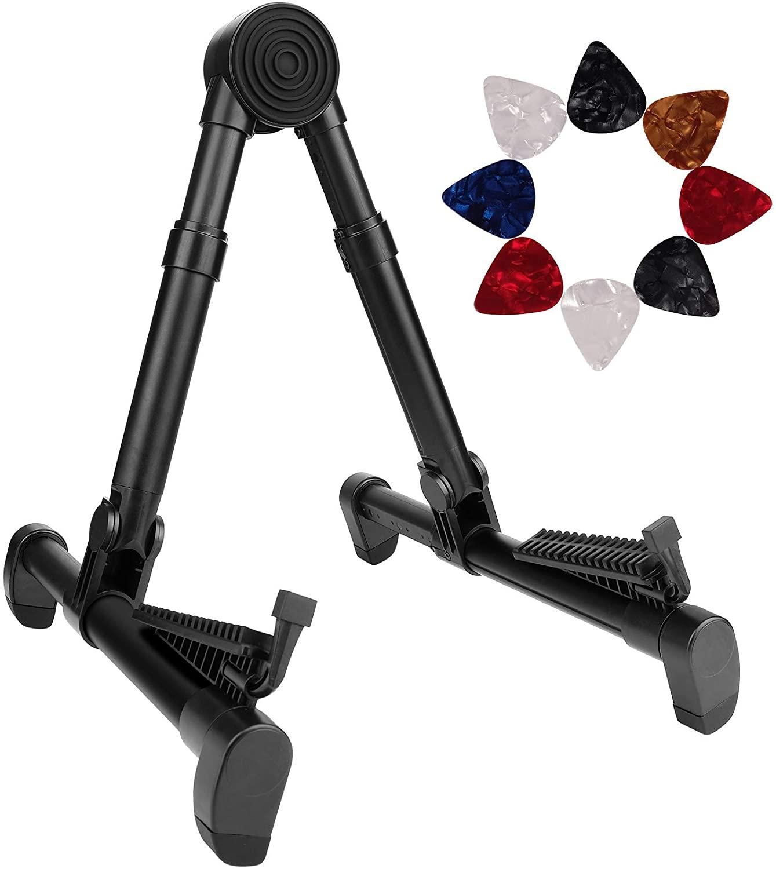Eison Folding Guitar Stand,Lightweight Adjustable Floor Guitar Holder with 8 Guitar Picks,Portable A Frame Aluminium Music Stand for Acoustic Electric Guitars, Bass, Violin, Ukulele, Mandolin,Banjo