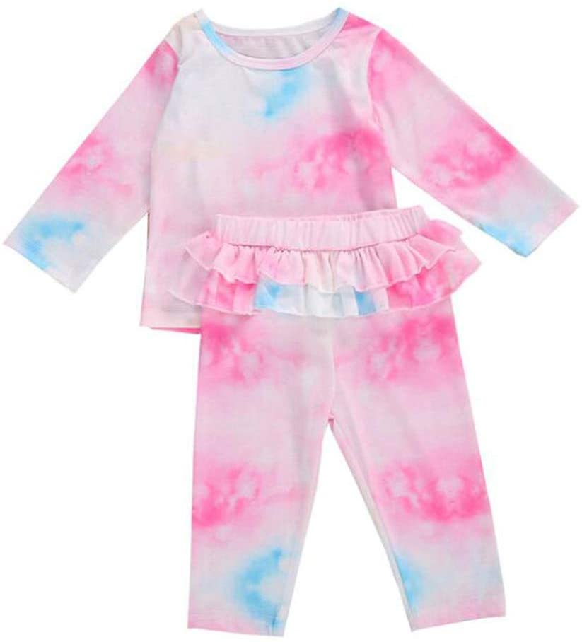 fghjj 1 Set Toddler Baby Girls Rainbow Tie-Dyed Pajamas Sleepwear Outfits Leisure Wear