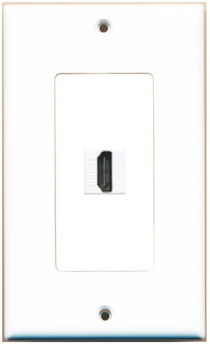RiteAV 1 HDMI Port Female-Female Wall Plate Decorative - White - Bracket Included