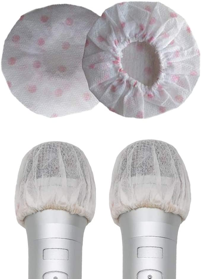 100 Counts Disposable Microphone Cover Non-Woven Handheld Microphone Protective Cap Karaoke Mic Cover Mike Windscreen for KTV Home Karaoke Bar News Interview (Pink Wave Point)