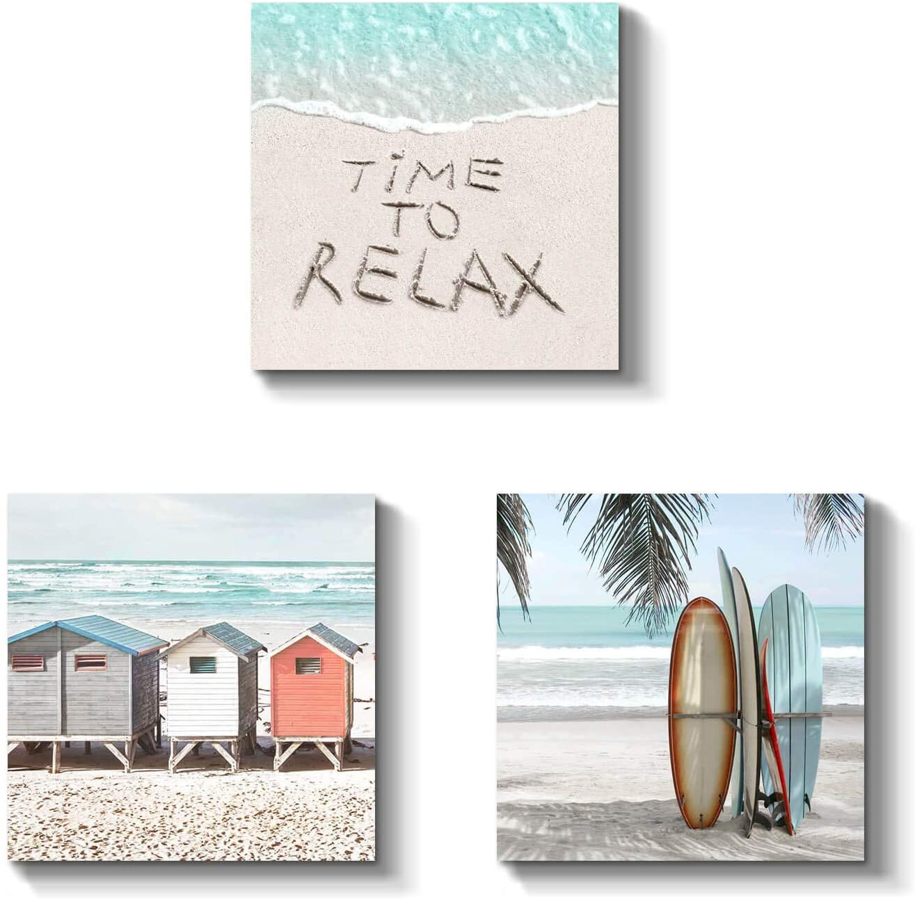Beach Coastal Canvas Wall Art: Seashore Artwork Surfboard Picture Seascape Painting for Living Room (12 x 12 x 3 Panels)