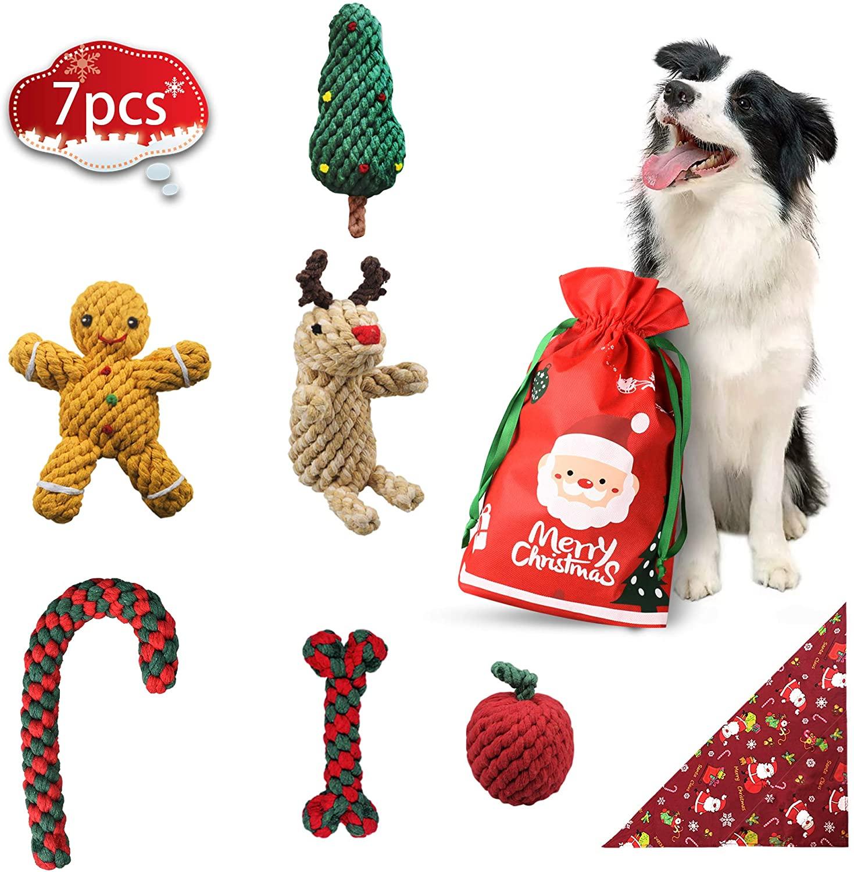 bellabailey Christmas Dog Chew Toys 7 Pack - 6 Rope Toys and 1 Dog Bandana - Holiday Dog Toys for Small Medium Sized Dog