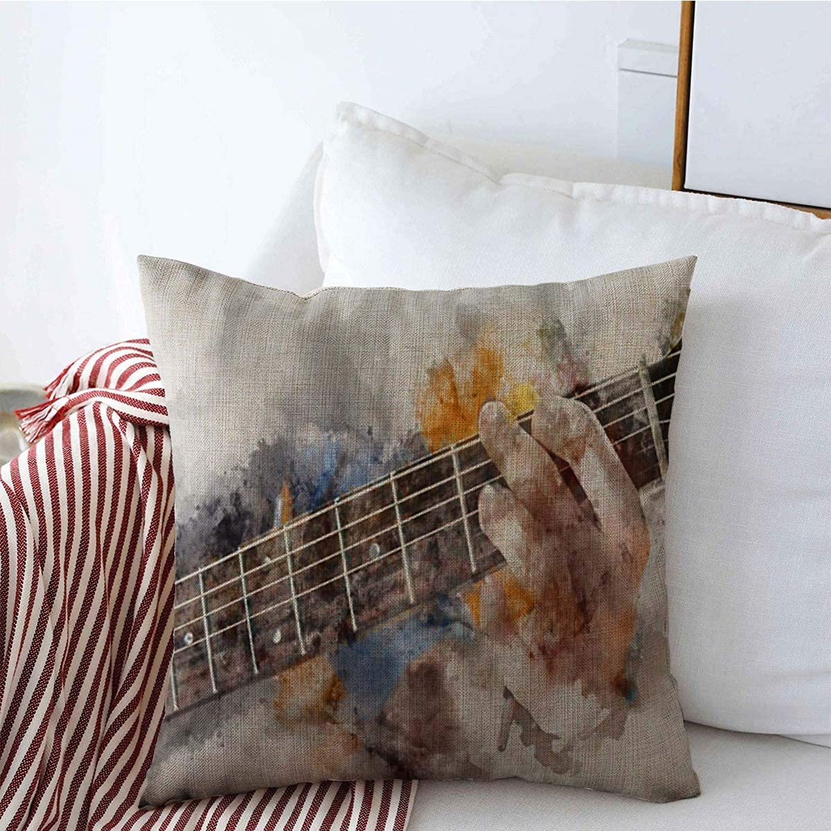 Decorative Throw Pillow Cover White Watercolor Musician Abstract Playing Acoustic Gig Guitar Guitarist Singer Roll Rock Brush Linen Pillowcase Square Size 20