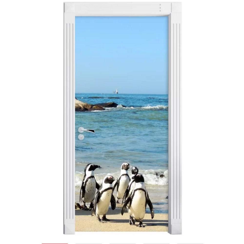 3D Door Wallpaper Murals Wall Stickers-Seaview Penguin for Home Decoration Self-Adhesive Vinyl Removable Art Door Decals 30.3x78.7