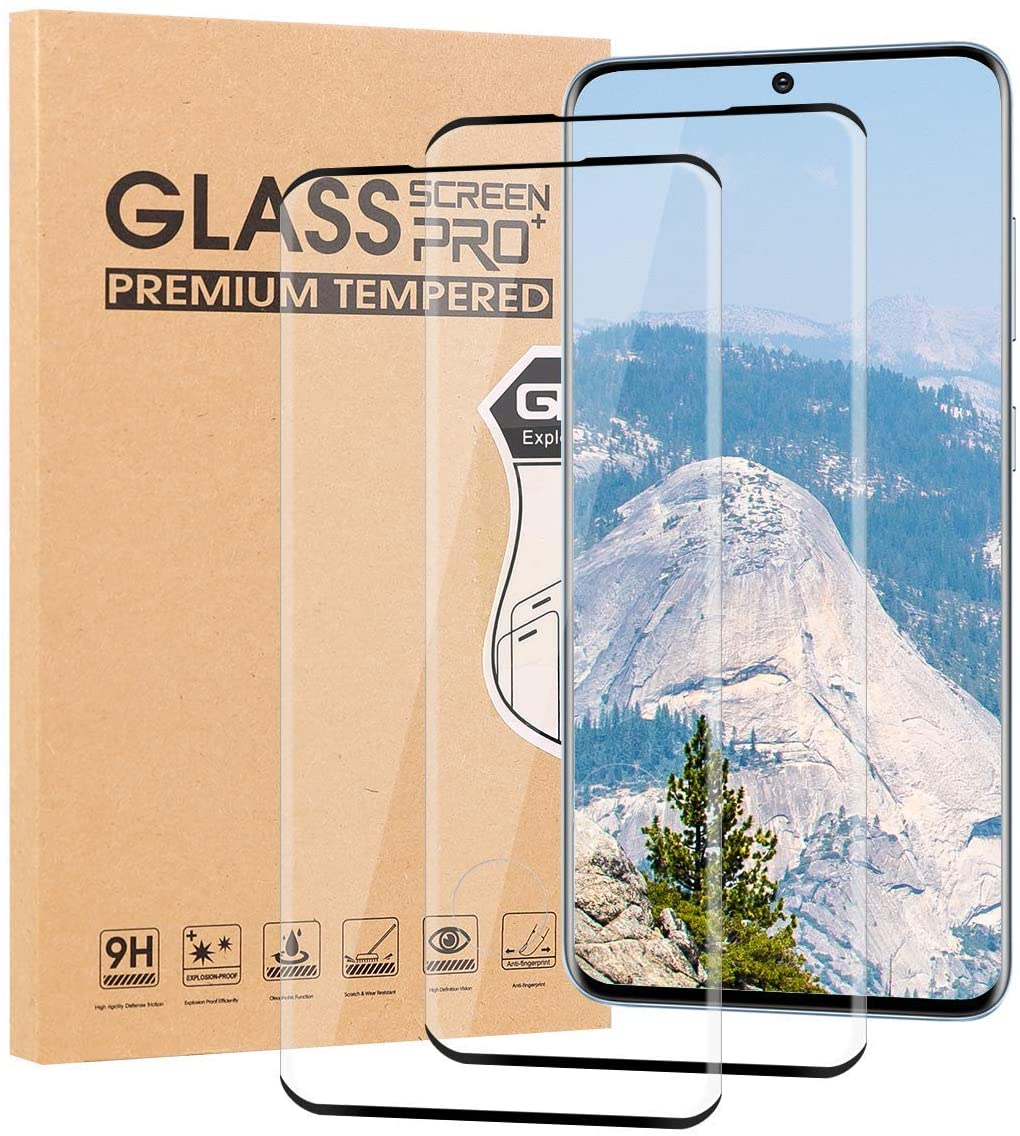 2Pack Galaxy S20 Screen Protector,[case Friendly] [9H Hardness] [Anti-Fingerprint] 3D Curved Dot Matrix Full Screen Coverage Compatible Galaxy S20