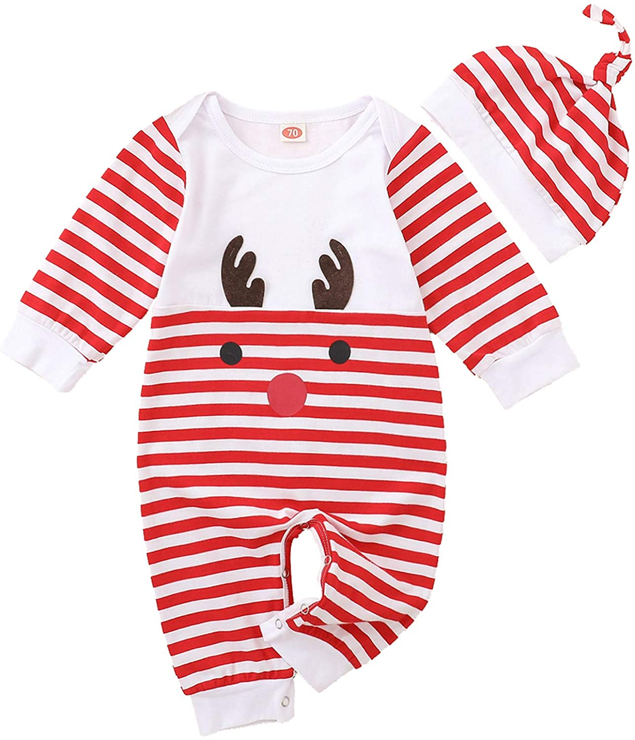 GoodLock(TM) Cartoon Deer Striped Romper for Infant Baby Girls Boy Christmas Romper Jumpsuit Hat 2 Pieces Winter Outfits