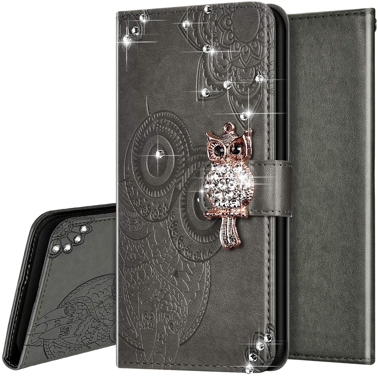 PHEZEN Case for Samsung Galaxy S20 Ultra Bling Wallet Case,Luxury 3D Bling Crystal Rhinestone Owl Floral PU Leather Wallet Flip Case With Card Slots & Kickstand for Galaxy S20 Ultra,Grey