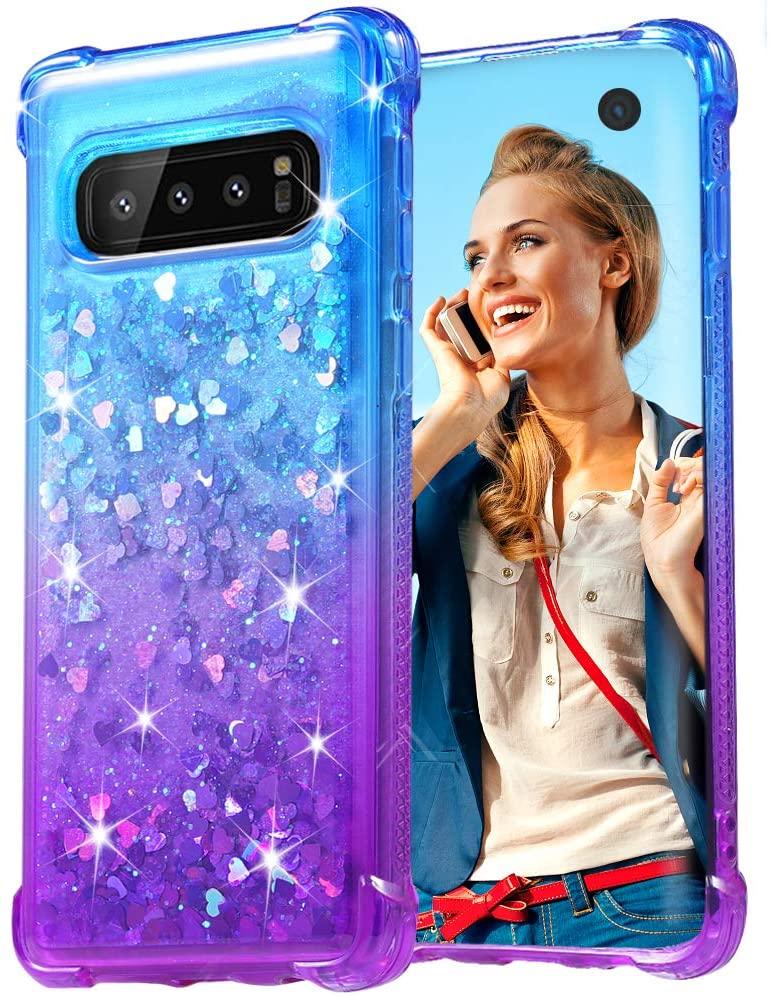 Flocute Case for Galaxy S10 Glitter Case Gradient Series Bling Sparkle Floating Liquid Soft TPU Cushion Luxury Fashion Girls Women Cute Case for Samsung Galaxy S10 (Blue Purple)
