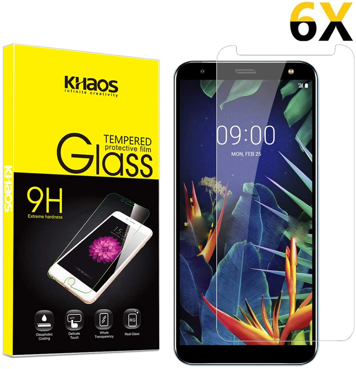 for LG K40/ K12 Plus/K10 2019 Screen Protector, [6 Pack] KHAOS Tempered Glass Screen Protector 9H HD-Clear Ant-Scratch Glass Protector