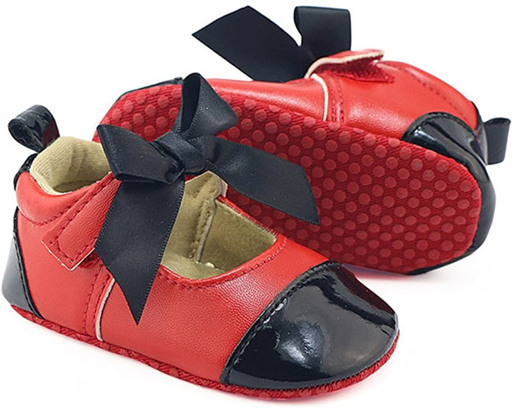 OAISNIT Baby Girls Shoes Mary Jane Flats Cute Bow Princess Dresses Shoes Infant Crib Shoes