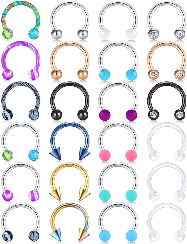 Longita 16g Septum Ring Horseshoe Bull Nose Ring Septum Jewelry Stainless Steel Arrow Cartilage Tragus Earrings Hoop Smiley Piercing Jewelry Lip Ring 8mm 10mm