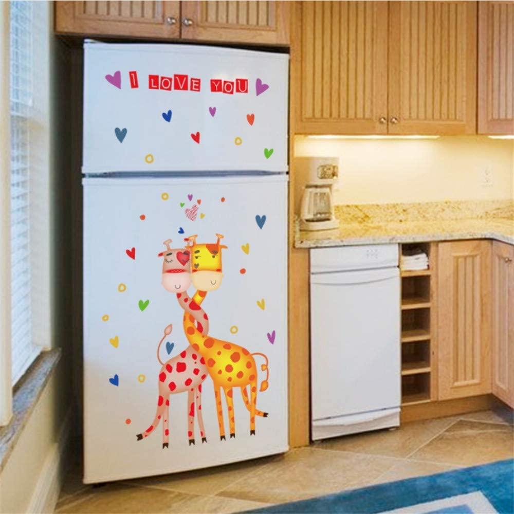 Love Heart Shape Giraffe Wall Sticker Home Decor Cabinet Hallway Wall Border Decorative Wall Graphic Kids Room Nursery Wallpaper