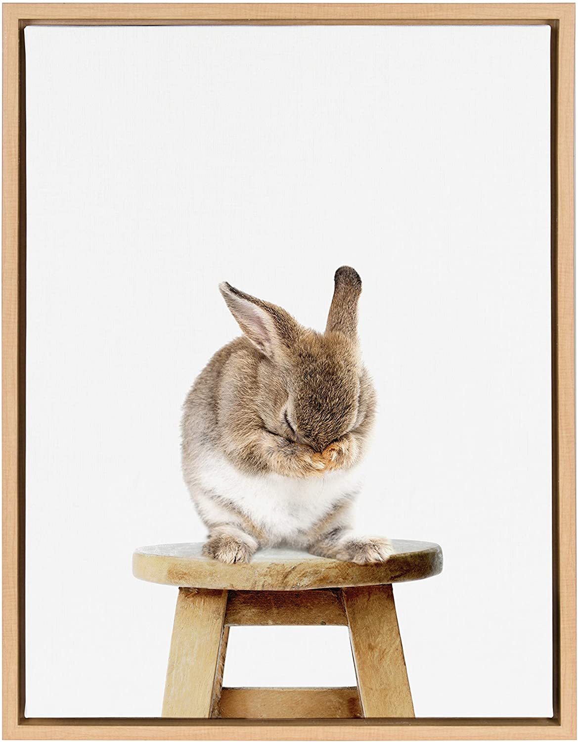 Kate and Laurel Sylvie Shy Bunny Rabbit Animal Print Portrait Framed Canvas Wall Art by Amy Peterson, 18x24 Natural