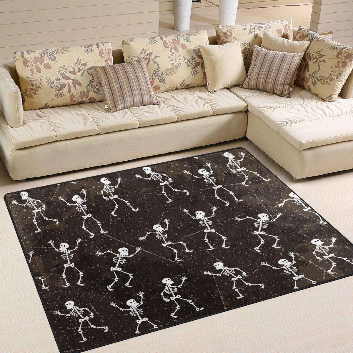 YZGO Dia De Los Muertos Skeleton Party Kids Area Rug, Non-Slip Floor Mat Soft Resting Area Doormats for Living Dining Bedroom 5' x 7'