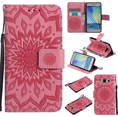 Zhusha Cellphone case, Samsung A5 2015 Case, Sun Flower Printing Design PU Leather Flip Wallet Lanyard Protective Case with Card Slot/Stand for Samsung Galaxy A5 2015 (Color : Pink)