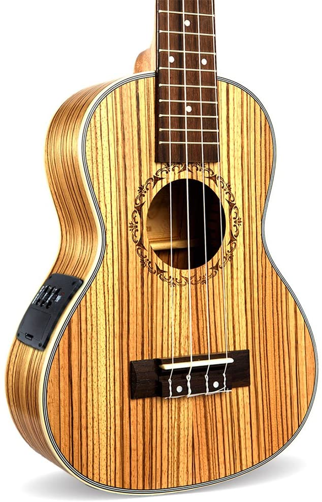 Ukulele Which can connect speaker made by Sapeliwood and Rosewood with Built-in EQ Pickup Stringed Musical Instrument (23 inch, Yellow)