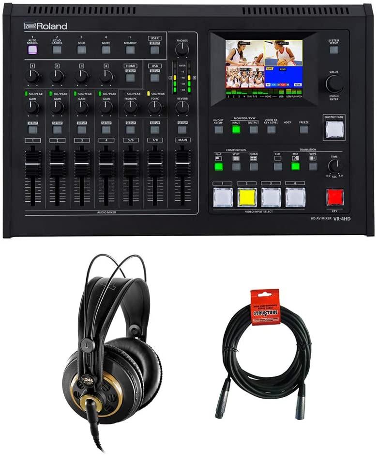 Roland VR-4HD HD AV Mixer with AKG K 240 Studio Pro Semi-Open Stereo Headphones & XLR Cable Bundle