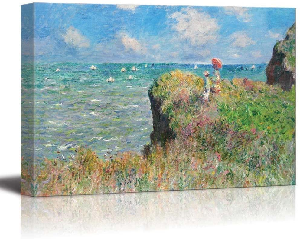 wall26 - Cliff Walk at Pourville by Claude Monet - Canvas Art Wall Decor-32 x48