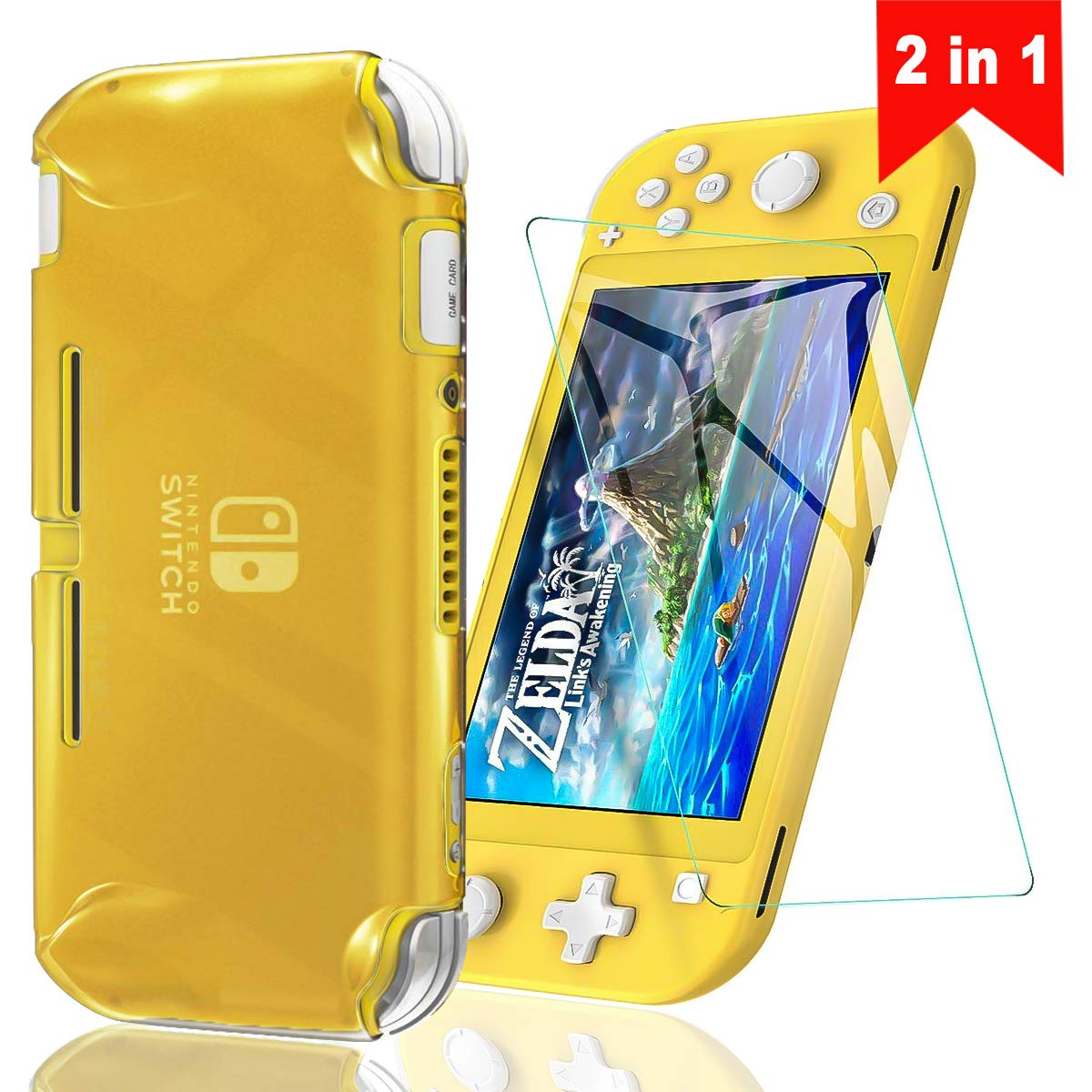 Cover Case Compatible with Nintendo Switch Lite Switch Lite Cover Case with One Tempered Glass Screen Protector Soft TPU Protective Shell Anti Scratch Switch Lite Games Accessory (Translucent Yellow)
