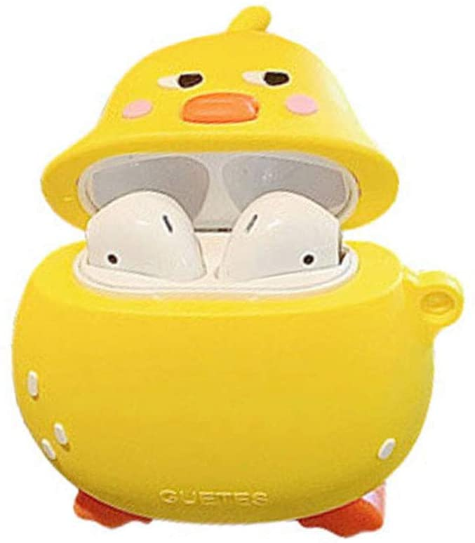 N/H Airpods Cover Compatible with Airpods Pro Cute Cartoon Character Pear Chick Carrying Case Soft Silicone Shockproof Durable Stylish Earphone Protective Skin with Earhook (Airpods Pro, Pear Chick)