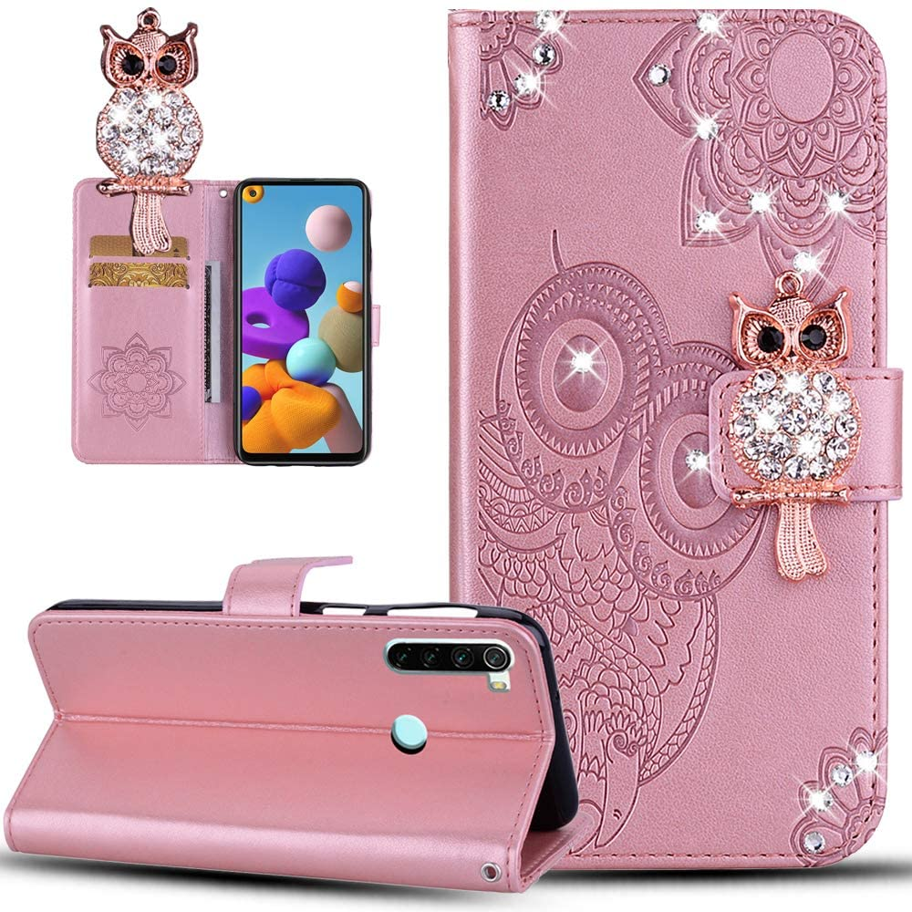 ISADENSER Case for Redmi Note 8 , Redmi Note 8 Cover for Women Glitter Bling Diamond Case With Cards Slot Cash Pockets Embossing PU Leather Flip Wallet Case for Redmi Note 8 , Crystal Owl Pink YK