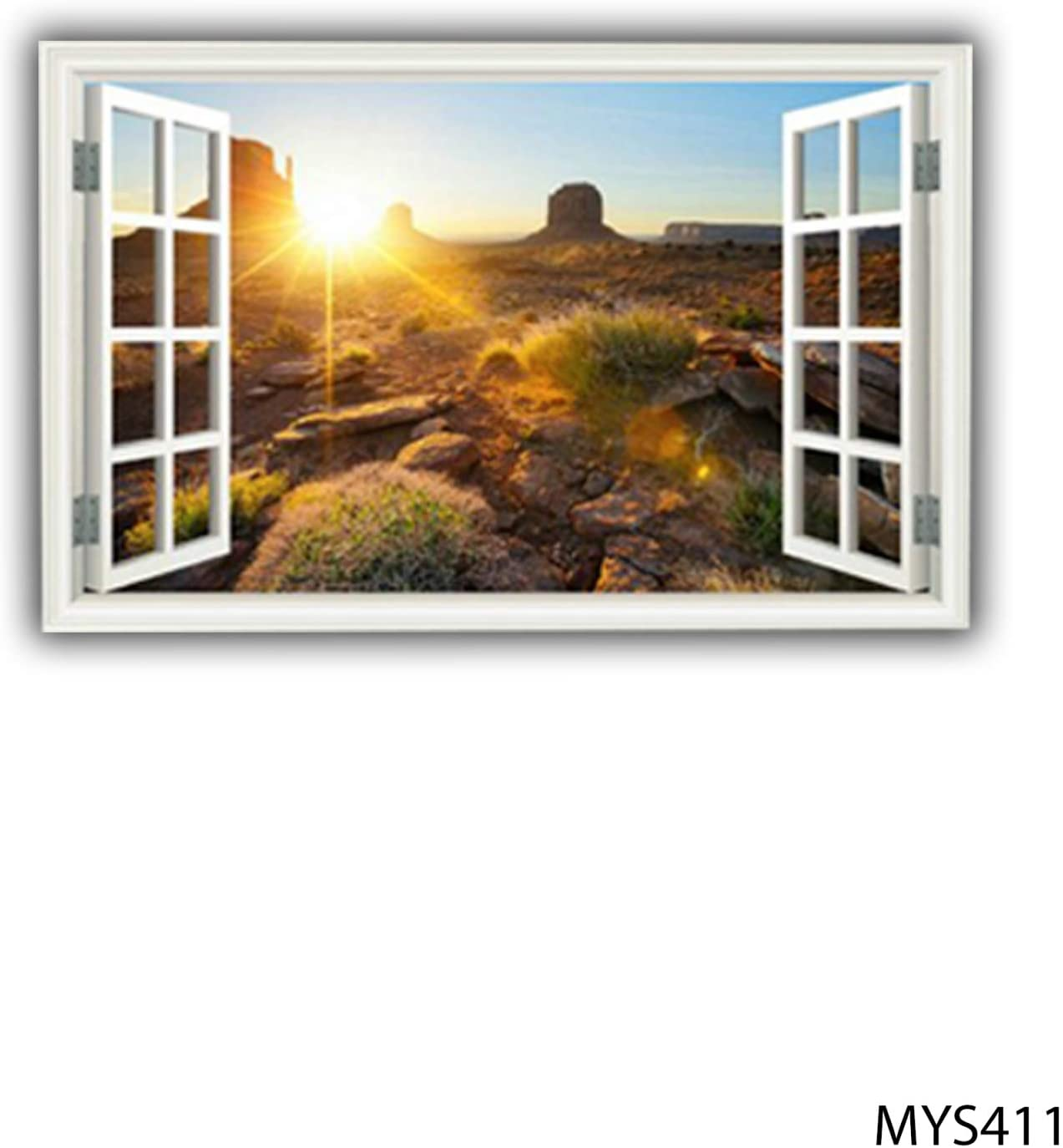 MySticky 3D Landscapes and Nature Fake Window Frame Wall Decal | Removable Vinyl Sticker | Peel and Stick | Art Decor for Bedroom, Kitchen, Kids or Any Room (MYS411-Small)