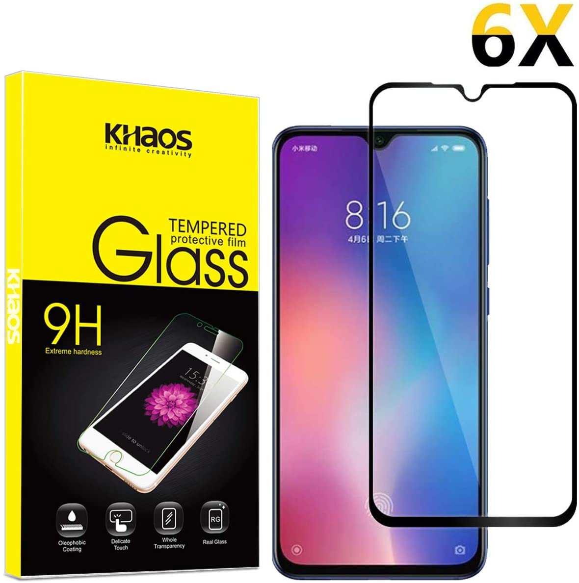 for Xiaomi Mi 9 SE Screen Protector, [6 Pack] KHAOS Full Screen Coverage Waterproof Clear Touch 9H Tempered Glass Screen Protector for Xiaomi 9SE -Black