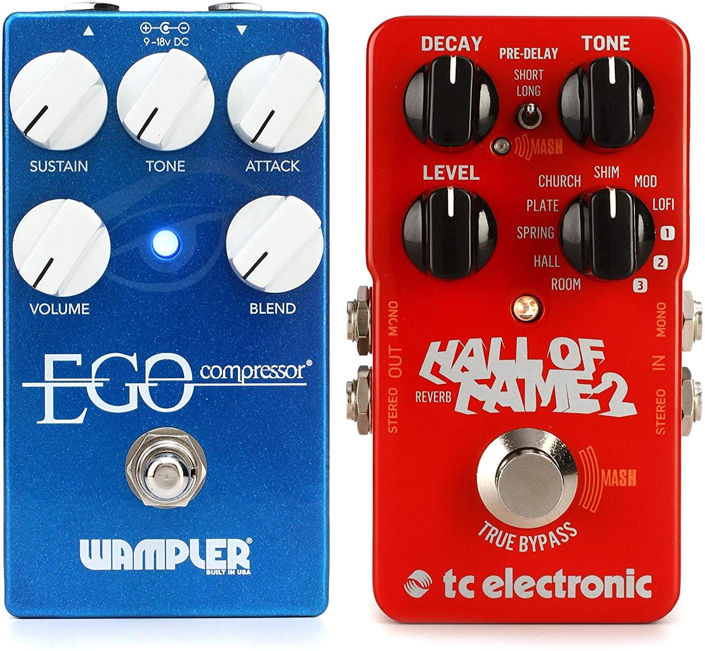 Wampler Ego Compressor Pedal with Blend Control + TC Electronic Hall of Fame 2 Reverb Pedal Value Bundle