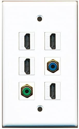 RiteAV - 4 HDMI 1 Port RCA Green 1 Port RCA Blue Wall Plate