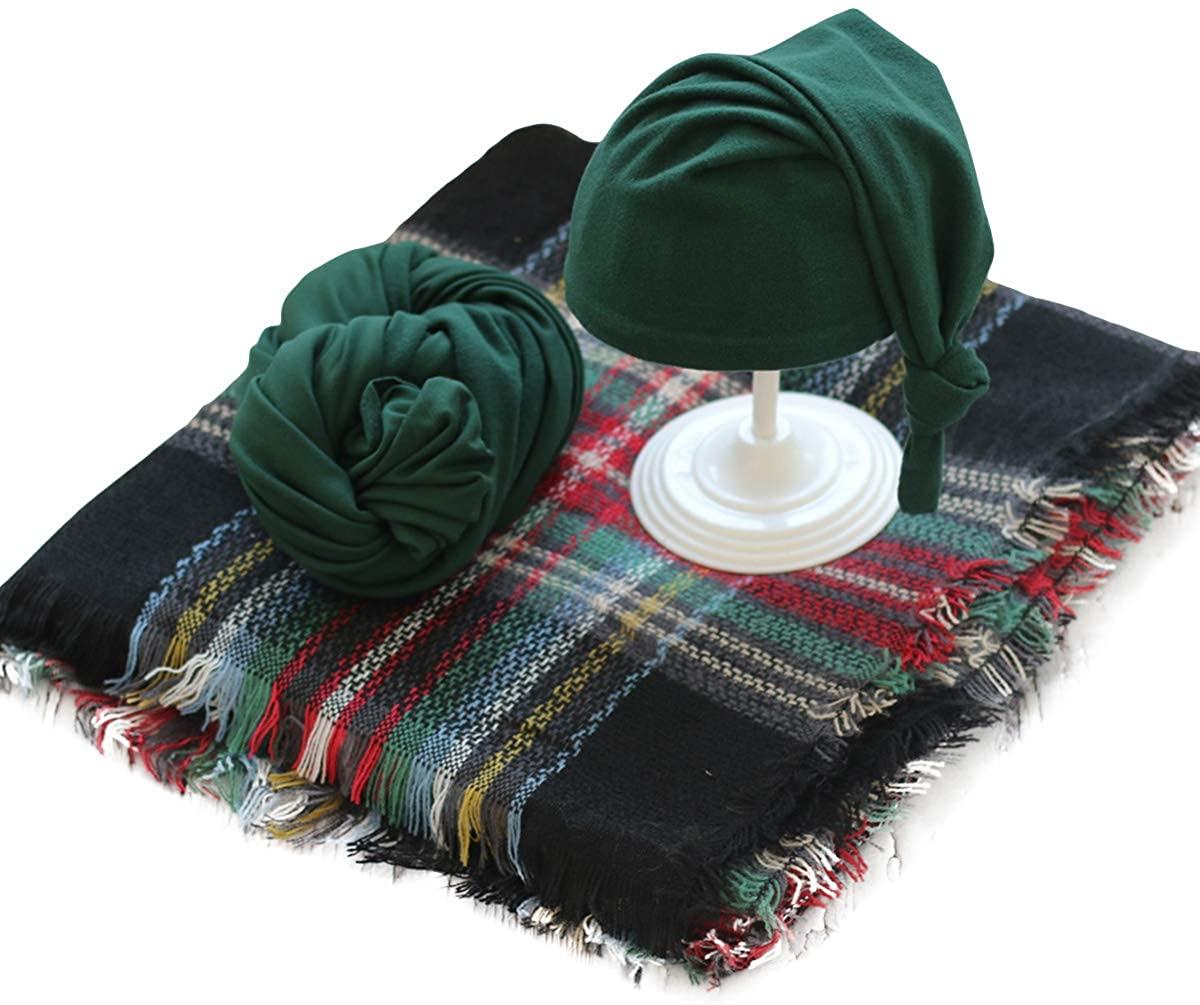 Newborn Christmas Photography Prop Set Baby Plaid Blanket + Baby Wrap + Hat