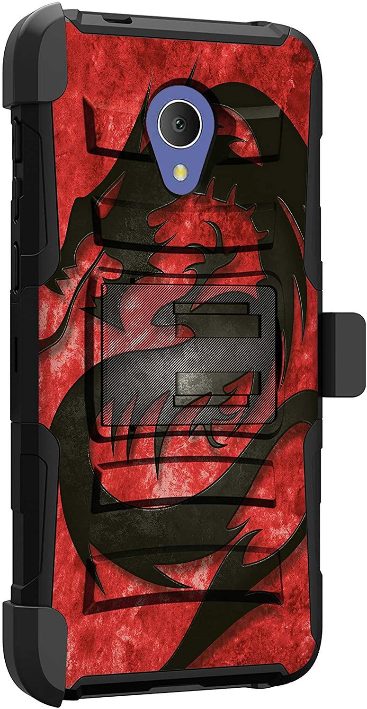 MINITURTLE Compatible with Alcatel 1X Evolve, Alcatel IdealXtra, Alcatel TCL LX, Alcatel Avalon Shockproof Rugged Dual Layer Case Kickstand Armor Holster Clip [Clip Armor] - Fire Dragon