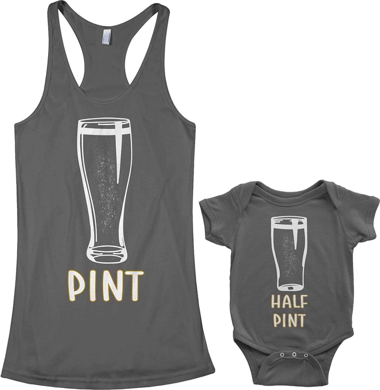 Threadrock Pint & Half Pint Infant Bodysuit & Women's Racerback Tank Set (Baby: 24M, Charcoal|Women's: M, Charcoal)