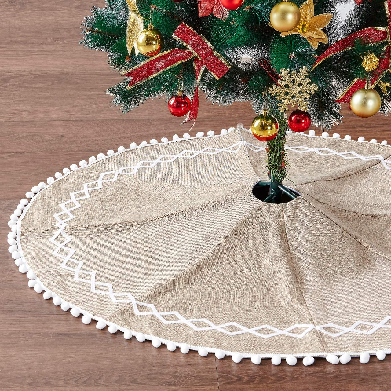 Eilaysyum Christmas Tree Skirt - 48 inches Large Natural Burlap Plain Rustic Xmas Tree Skirts with Hand-Sewn White Lace Decor for Holiday Party Christmas Decorations (Jute)