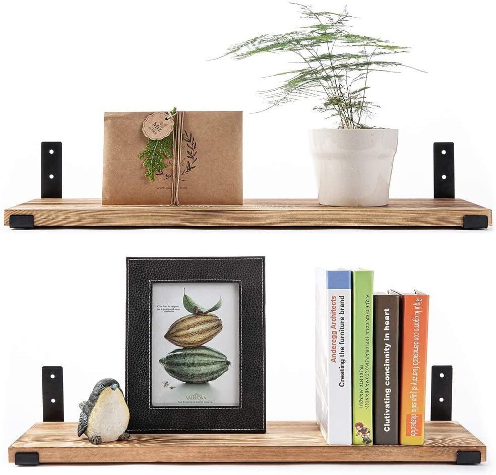 Wall Mounted Floating Shelves Set of 2, Bookshelf Unit for Bedroom, Office, Bathroom, and Living Room, Natural Burned Rustic Wood Wall Decor with Metal Floating Shelf Bracket