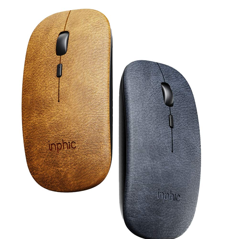 Creative Leather Cloth Fashionable Wireless Mouse Rechargeable Silent Boys And Girls Lovely Wireless Office Suitable For Notebook Computers Such As Creative Mouse Brown
