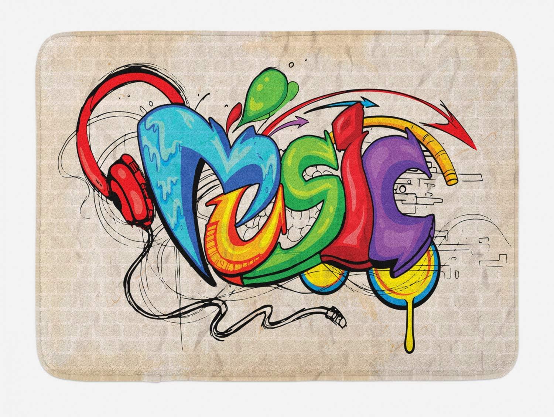 Ambesonne Music Bath Mat, Illustration of Graffiti Style Lettering Headphones Hip Hop Theme on Beige Bricks, Plush Bathroom Decor Mat with Non Slip Backing, 29.5