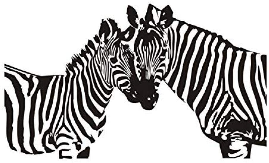 asqwq Decoration Two Zebra Silhouette Wall Stickers for Kids Room Wildlife Movable DIY Wall Art Decal Home Decor Accessories 73 43 cm