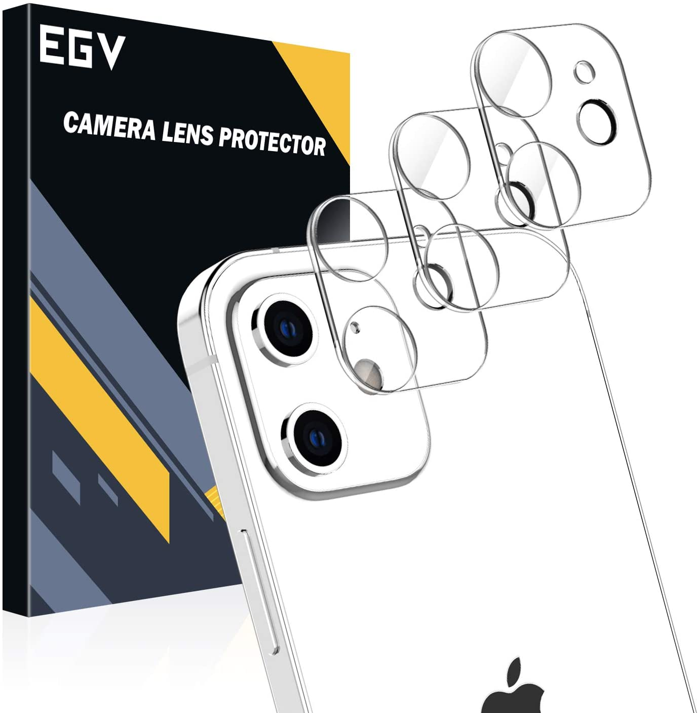 EGV [3 Pack Camera Lens Protector for iPhone 12 Mini 5G (5.4''), HD Clear Tempered Glass Back Camera Protector [Anti-Scratch] [Ultra-Thin] [Easy Installation]