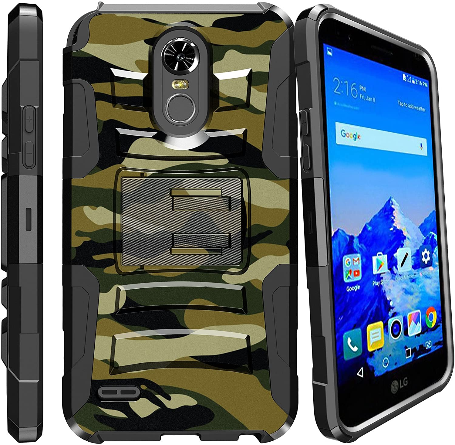 Rugged [Heavy Duty] Dual Layered [Shockproof] Case w/Kickstand Cover+Holster Clip Compatible with LG Stylo 3 / LG Stylo 3 Plus (LS777/MP450/M430/L83BL)