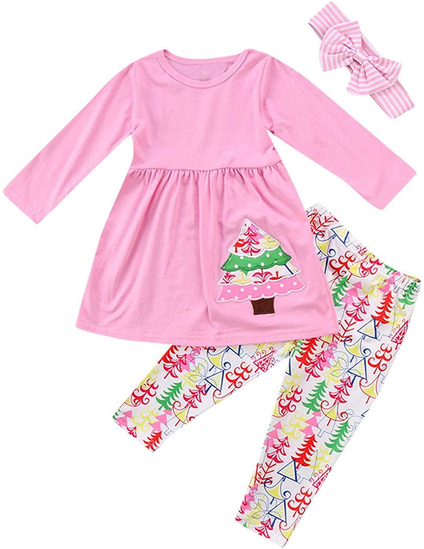 Toddler Baby Girls Long Sleeves Tops Pink Dresses Christmas Tree Print Pants Leggings with Headband Sets 18M-6T