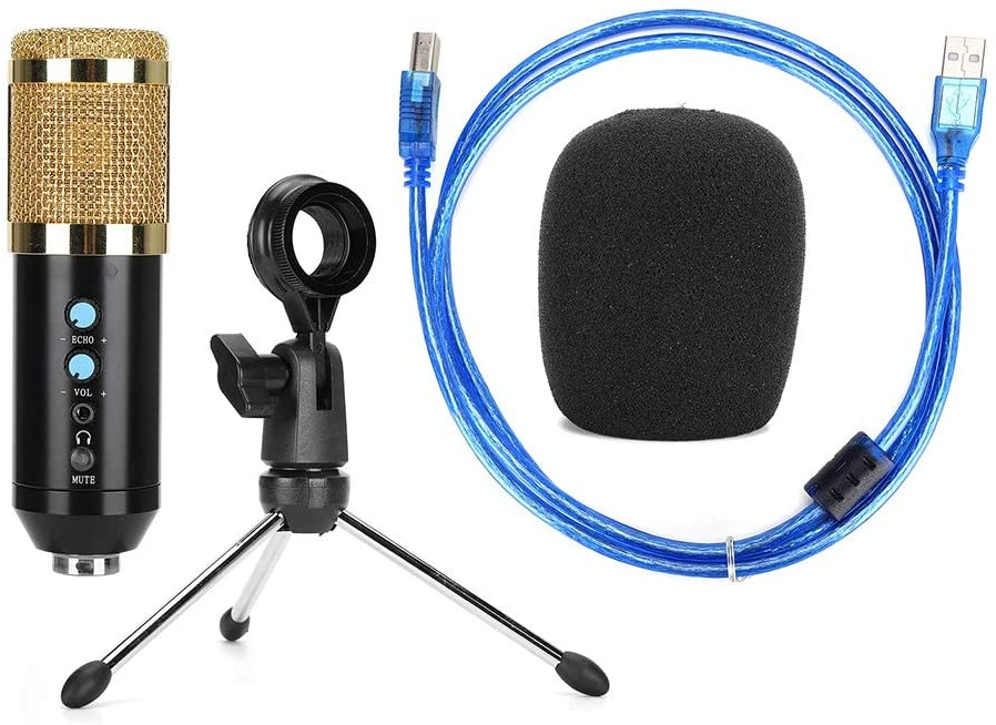 Sutinna Condenser Microphone with Adjustable Angle, Very Sensitive Microphone, for PC(Golden)