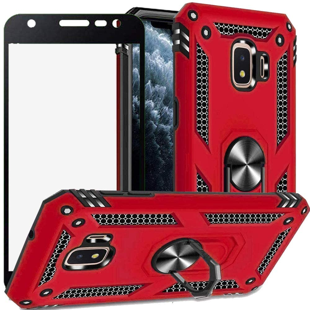 Luosunstar for Samsung Galaxy J2 Core/J2 2019/J2 Pure Case, 360° Rotation Kickstand [Work with Magnetic Car Mount] PC+ TPU Dual Layer Rugged Shockproof Case with Tempered Glass Screen Protector,Red