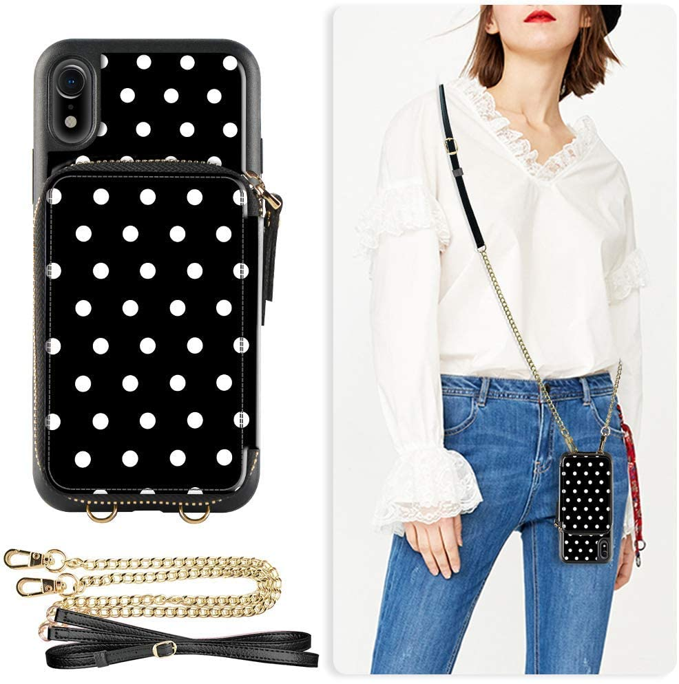 ZVE Wallet Case for Apple iPhone XR 6.1 inch, Leather Wallet Case with Crossbody Chain Credit Card Holder Slot Zipper Pocket Purse Wrist Strap Case Cover for Apple iPhone XR 6.1 - Polka Dots